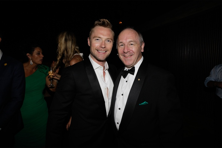 Ronan Keating with CEO Prof. Ian Olver AM at the Emeralds & Ivy Ball