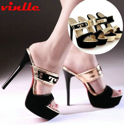 VINLLE 2014 New  Women Office Ladies Pointed Toe OL Style High Thin Heels Sandals party women pumps Wedding Shoes size 34-43