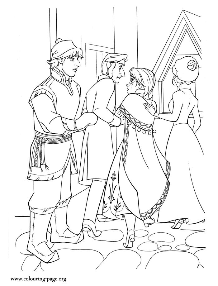 Kristoff returns to the castle with anna coloring page