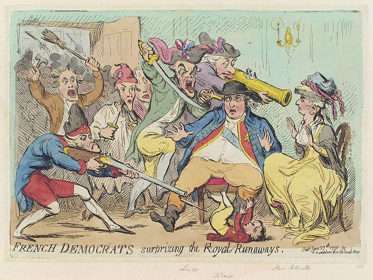 #BastilleDay French democrats surprising the royal runaways. Gillray, 1791.