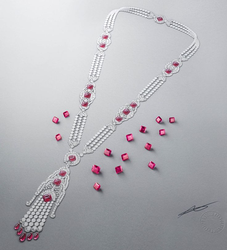 Kizil long necklace: White gold, pink gold, round, square-cut, baguette-cut and pear-shaped diamonds, white cultured pearls, white mother-of-pearl, rubellite drops, 15 square-cut rubellites for a total of 45.09 carats. © Van Cleef & Arpels