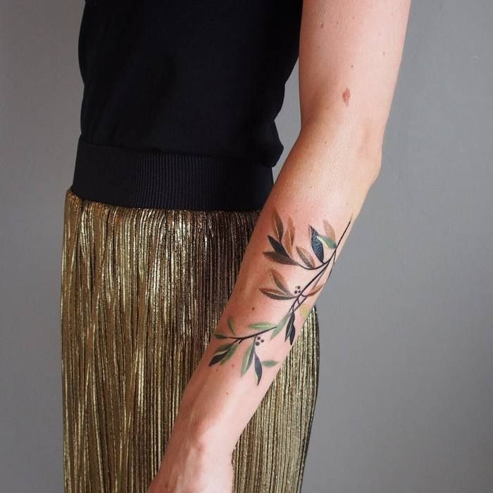 Colored Olive Branch Tattoo by sashaunisex