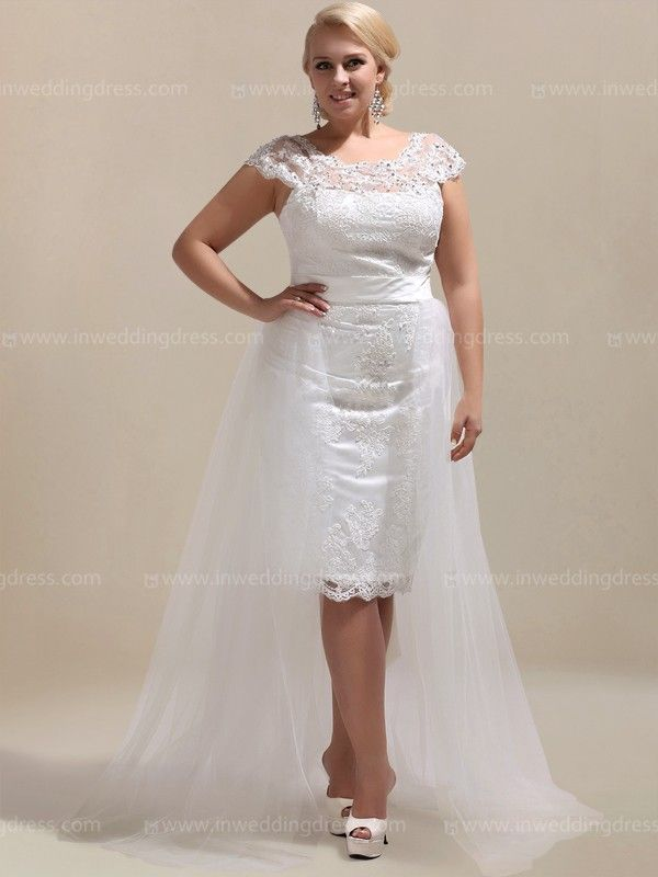 Informal plus size wedding dress like this is sure to make your wedding memorable. Featuring a beaded illusion scoop neckline, cap sleeves, and the Tulle overlay the knee length underneath skirt, this plus wedding dress is perfect for an informal wedding or reception.