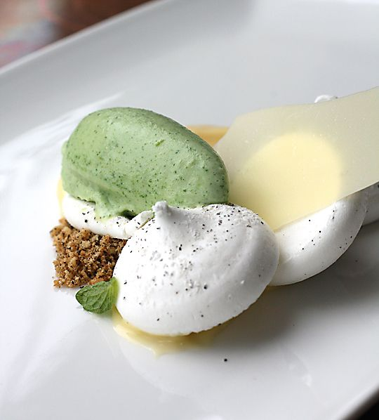 An ethereal Earl Grey pavlova with mint ice cream.