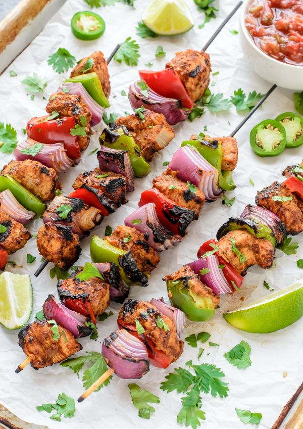 Fajita Chicken Kebab Recipe. A fast healthy dinner!