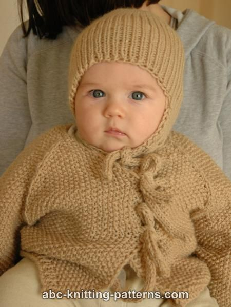 ABC Knitting Patterns - Easy Seamless Baby Cardigan with I-Cord Ties.