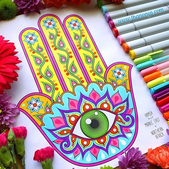 hamsa coloring page from my folk art coloring book colored with markers and gel pens
