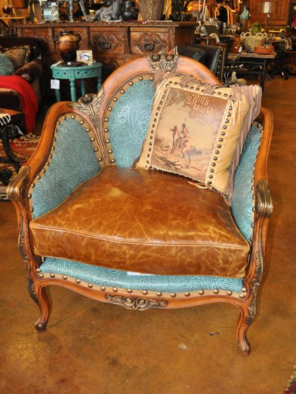 Rawhide carved embossed turquoise chair sill n - Sillones de epoca ...