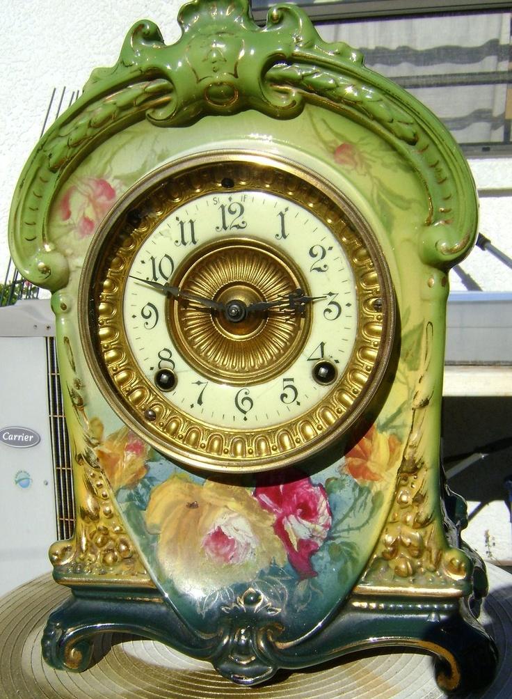 Ansonia Clock Co La Cruz Royal Bonn Porcelain Mantel