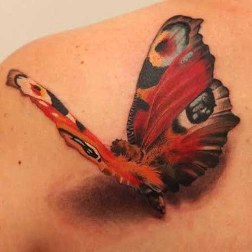 Colored 3D Butterfly Tattoos
