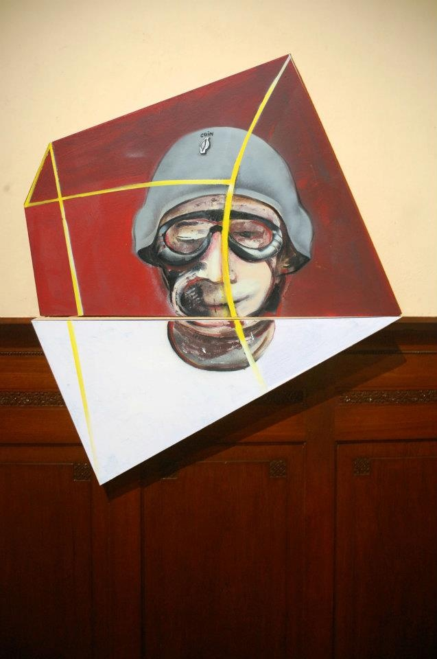 di Depan Warna Merah dan Putih #3  (who's the boss)  92 x 104 cm #art #artists #painting #expretion #face #urban #uniqueshape