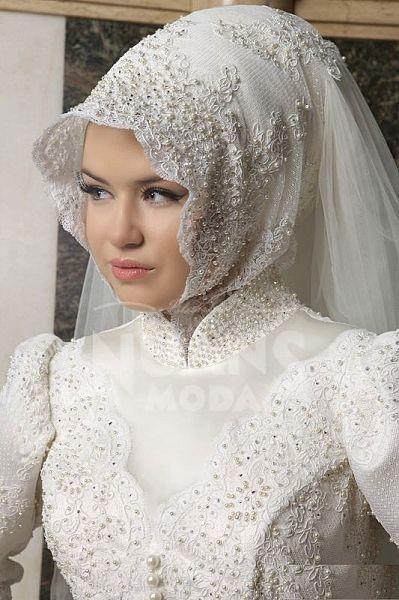 Yeni Moda Tesettürlü Gelin Başı Koleksiyonu