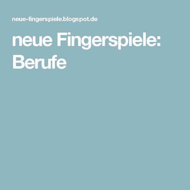 neue Fingerspiele: Berufe