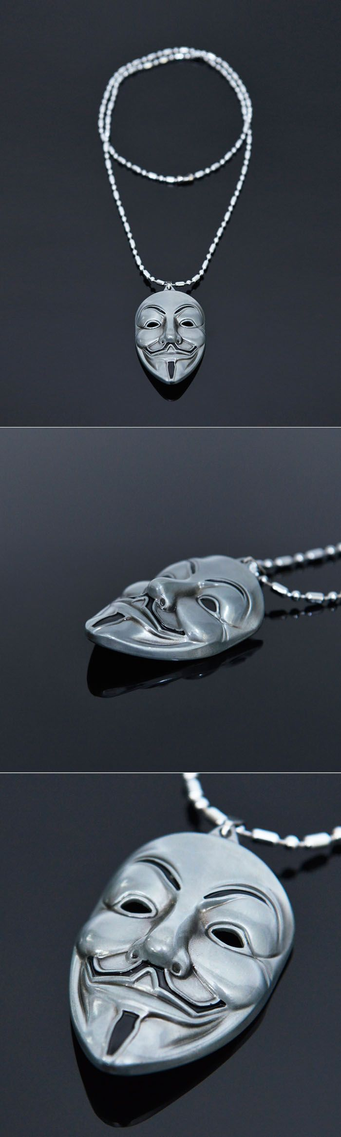 Accessories :: V For Vendetta Mask Pendant Long-Necklace 303 - GUYLOOK Men's Trendy Fashion Clothing Online