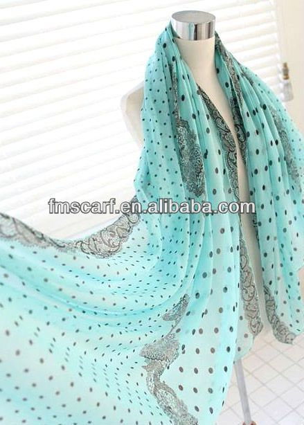 Light Blue Polka Dot Lace Polyester Scarf for Girl, View polka dot lace polyester scarf, Product Details from Changsha Follow Me Fashion Co....
