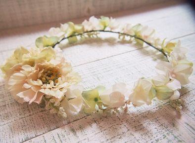 スカビオサとホワイトグリーンの花冠リストレット2点SET - 大人可愛い花冠 ブライダル・ウェディング 【アルモニ】