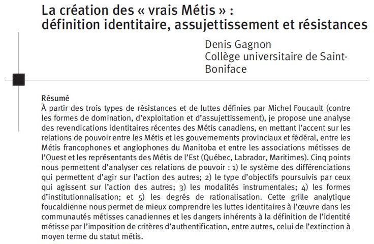 Gagnon, Denis, « La création des 'vrais Métis' : définition identitaire, assujettissement et résistances », Port Acadie, nos 13-14-15 (printemps-automne 2008 / printemps 2009), pp. 295-306.