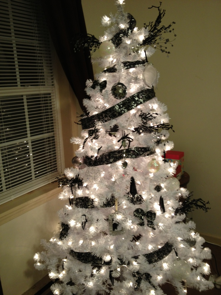 My Black And White Christmas Tree! Just Need To Put A Bow On The Top.