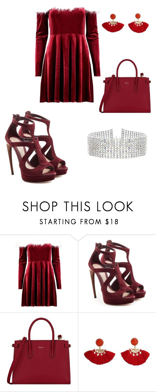 """Christmas"" by jada-gymnast-639 ❤ liked on Polyvore featuring Alexander McQueen, Furla, MANGO, Steve Madden, Christmas and red"