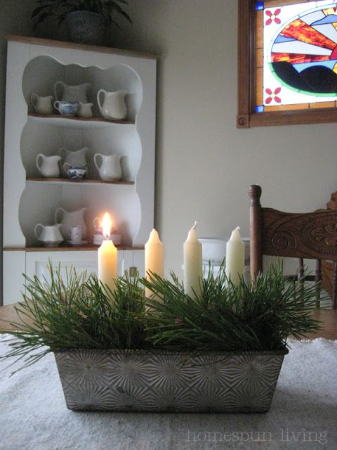 Lovely way to Upcycle an old bread tin! Use floral oasis to hold candles. Tuck pine in. LOVE!