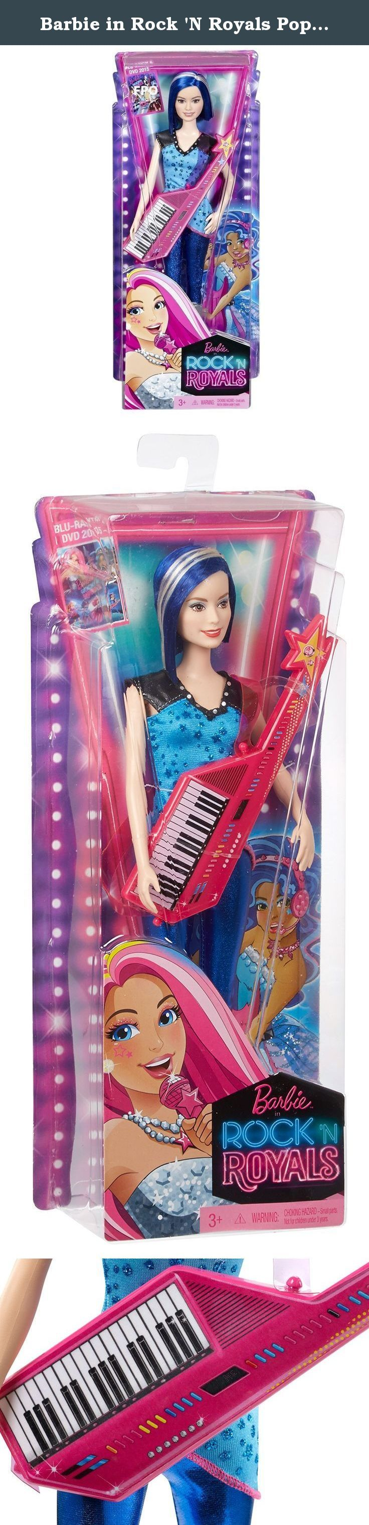 Barbie in Rock 'N Royals Pop Star Doll. In Barbie in Rock 'N Royals, two very different worlds collide when a mix-up sends a princess and a rock star to the wrong camps. As they face an epic sing-off, both girls embrace their differences, find their true voices and learn that anything is possible when they work together! Girls will love celebrating the story with this cool rock star doll ready to rock with her glam star-topped pink keyboard guitar. She'll steal the show wearing a blue...