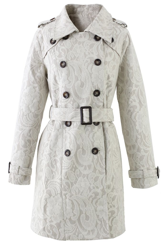 ++ Floral Lace Print Double Breasted Trench Coat