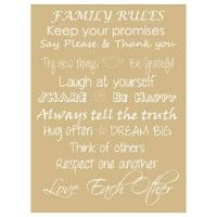 Vinyl Print - Family Rules Taupe - www.tinklepea.co.za