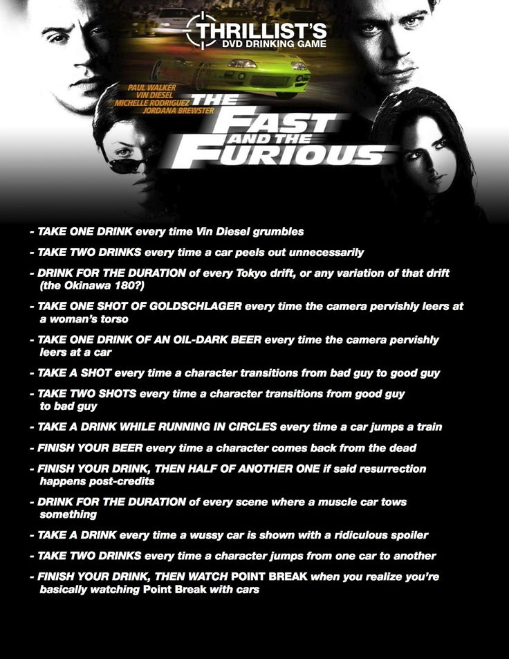 Fast And The Furious Drinking Game Now I Have A Reason To Watch Movie