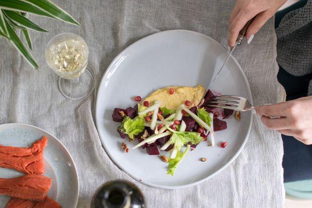 Home-smoked wild sockeye salmon with roasted beet salad