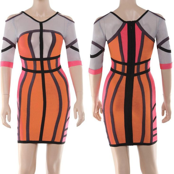 Bodycon Bandage Dresses Top quality winter women nude cut out backless long sleeve bandage dress prom party dress