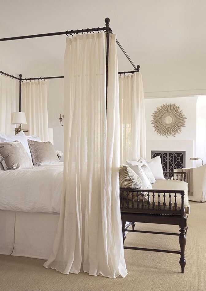 Sheer Bed Canopy Curtains in White
