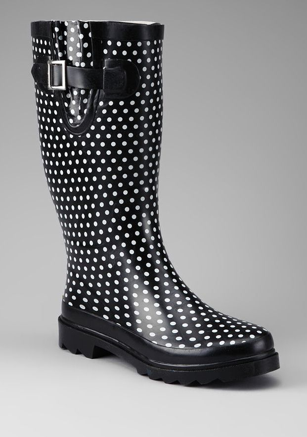 Black Polka Dot Rain Boot