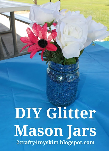 DIY Glitter Mason Jar CenterpiecesGlitter Mason Jars, Masons, Skirts, Crafty, Mason Jar Centerpieces, Mason Jars Centerpieces, Diy Glitter, Glitter Jars, Bridal Showers