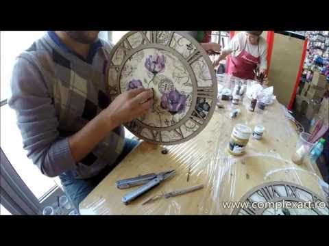 Tutorial - Decoupage & One Stroke technique - Clock Decorating - YouTube