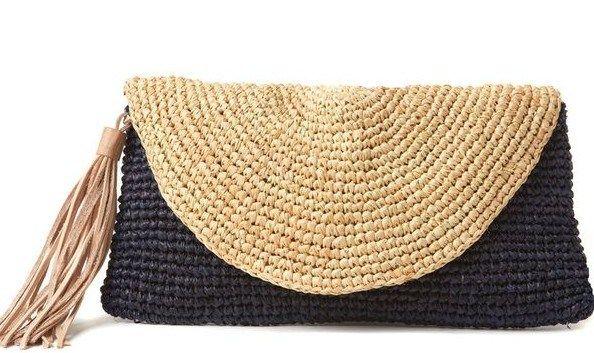 Crochet rafia clutch bag
