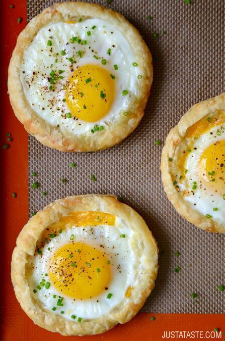Cheesy Puff Pastry Baked Eggs #recipe from justataste.com