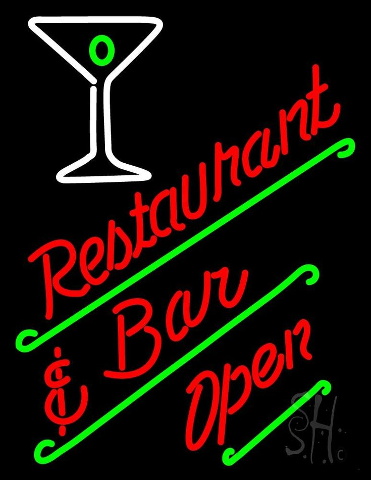 Restaurant Bar Open Neon Sign 31 Tall x 24 Wide x 3 Deep, is 100% Handcrafted with Real Glass Tube Neon Sign. !!! Made in USA !!!  Colors on the sign are White, Red and Green. Restaurant Bar Open Neon Sign is high impact, eye catching, real glass tube neon sign. This characteristic glow can attract customers like nothing else, virtually burning your identity into the minds of potential and future customers.