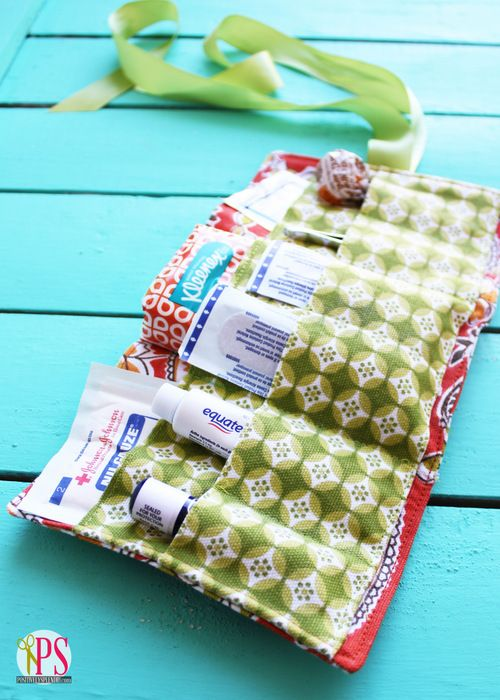 Put your sewing skills to the test by making a compact travel first aid kit you can toss in your bag.