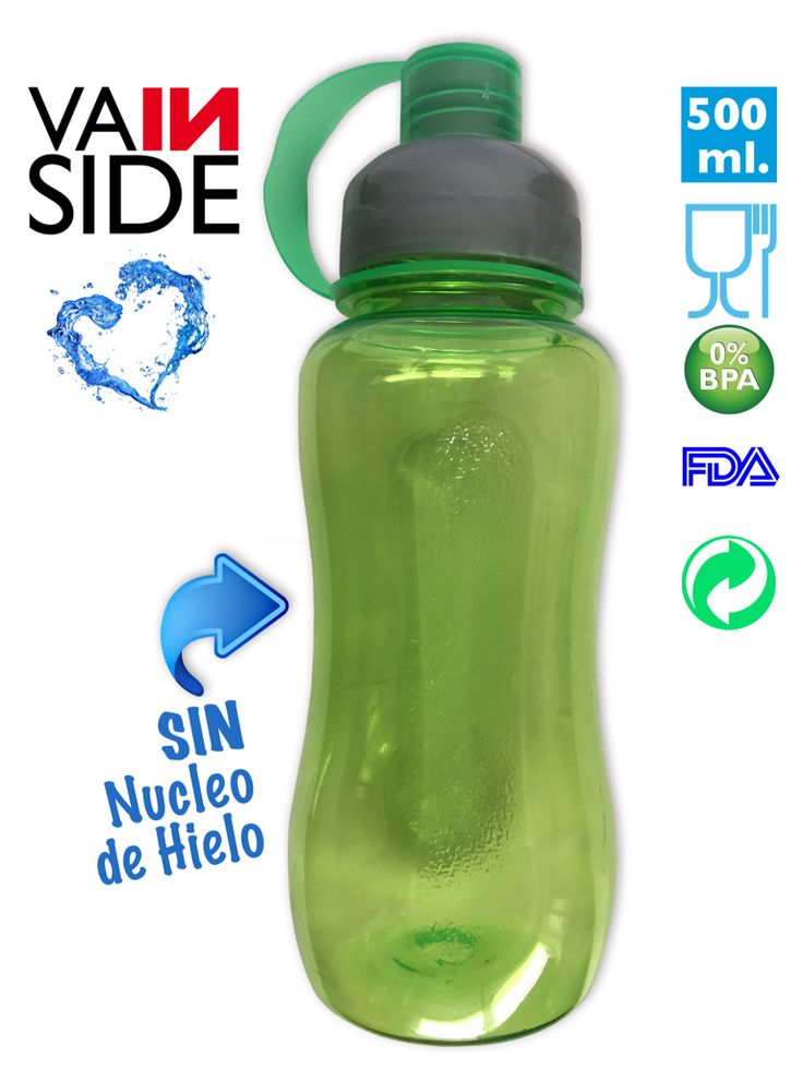 Botella VAINSIDE Oasis ICE 500ml. Con Núcleo de Hielo. Verde