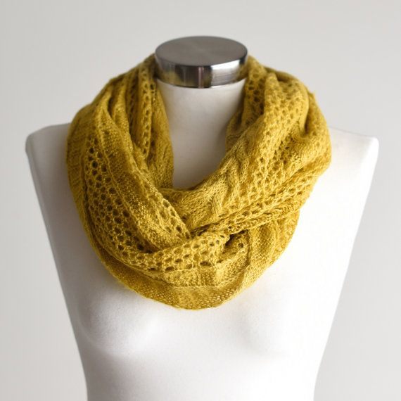SCARF Infinity Scarf Yellow Scarf Yellow Knit Scarf by CoraBloom