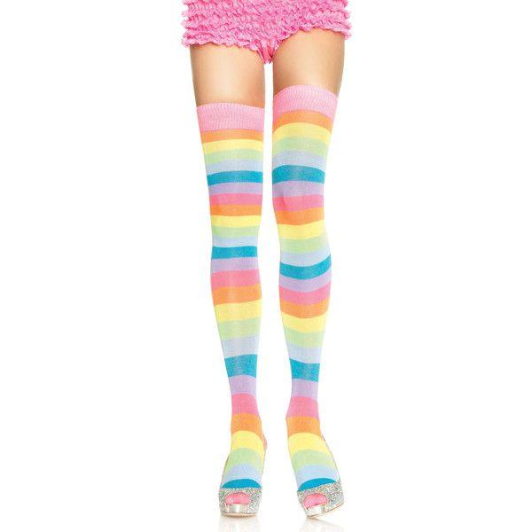 Women's Leg Avenue Rainbow HosieryAcrylic Neon Rainbow Thigh... (8.18 CAD) ❤ liked on Polyvore featuring intimates, hosiery, socks, socks & hosiery, colorful thigh high socks, leg avenue, knee length socks, multi colored socks and thigh high knee socks
