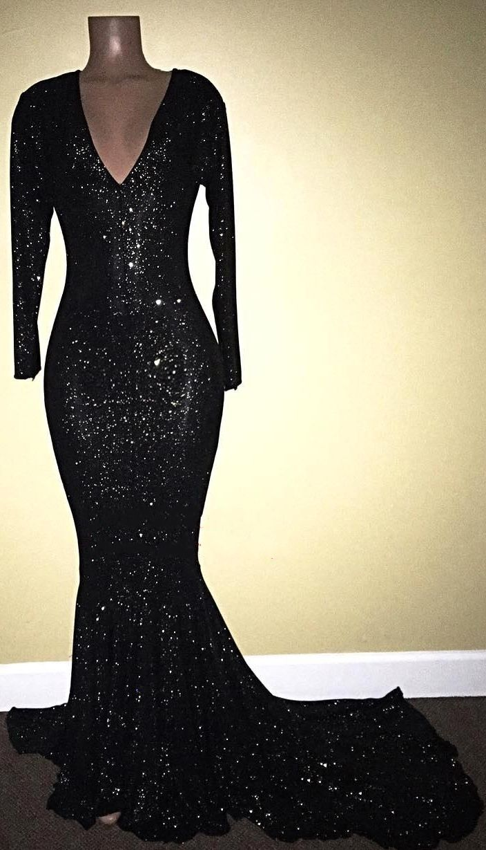 40a5736c Shiny Mermaid Black Sequins Long Sleeves V-Neck Prom Dresses ...