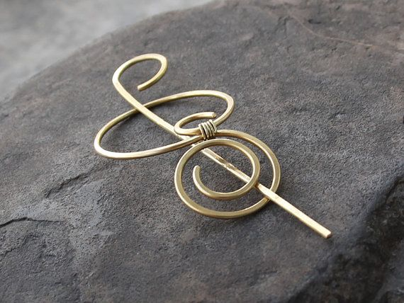 A beautiful and charm spiral hair clip/ shawl pin made with thick ...