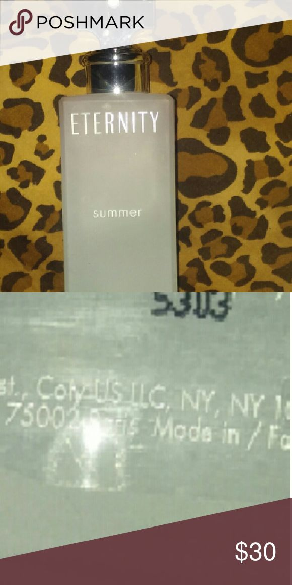 Calvin Klein summer 3.4 oz No box 99-% full . new .  just spayed twice...finally A lite sweat smell that will last all day.. But not to strong..  Large bottle 3.4 oz Calvin Klein Other
