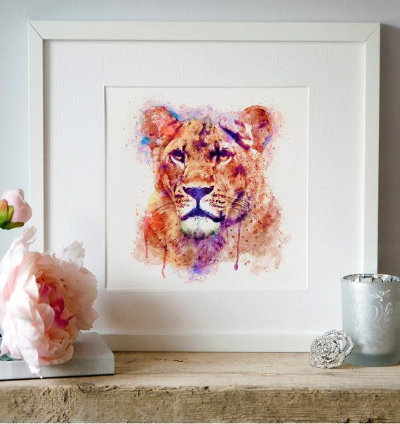 Lioness head Watercolor painting Wildlife Aquarelle by Artsyndrome