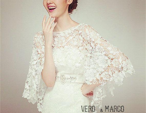 Romance Alencon lace bridal capelet lace cloak by ThingsInLove