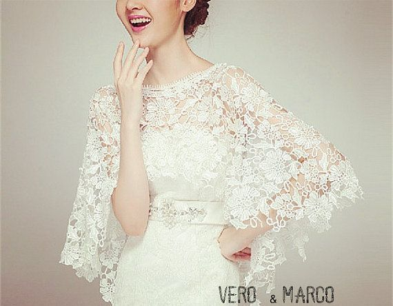 Romance ivory Alencon lace bridal capelet lace by ThingsInLove