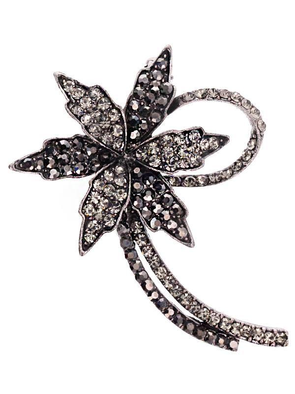 Brosa martisor in forma de floare argintie impodobita cu pietricele multifatetate de culoare gri si alba cu reflexii multicolore. Raspunde celor mai exigente gusturi!