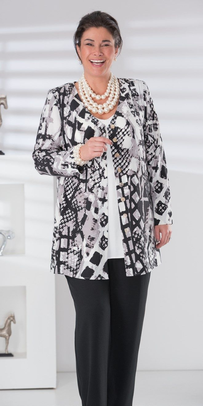 Box 2 black/grey crepe print v neck jacket, vest and trouser