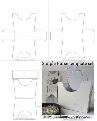 Simple Purse Box templates--in png, pdf, svg.--this is a fantastic site for all sorts of templates and tutorials.